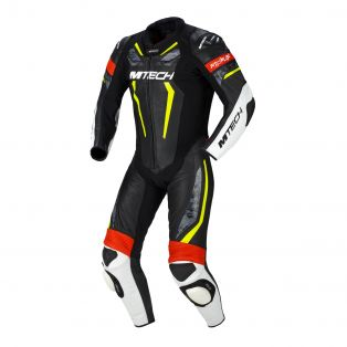Halo motorcycle one piece suit Black/Fluo Yellow/Neon Red