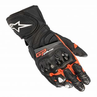 GP Plus R V2 leather motorcycle gloves Black/Fluo Red
