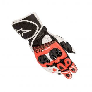 GP Plus R V2 leather motorcycle gloves Black/White/Red
