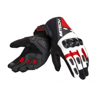 Falcon motorcycle gloves Black/White/Red