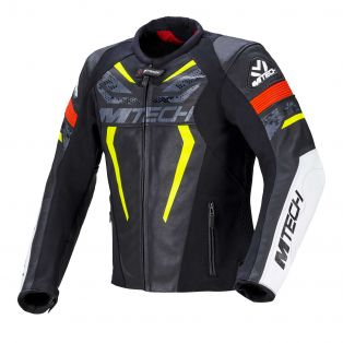 Halo leather motorcycle jacket Black/Fluo Yellow/Neon Red