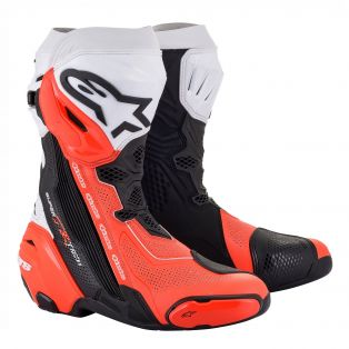 Supertech R vented motorcycle boots Black/White/Fluo Red