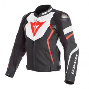 Avro 4 leather motorcycle jacket Black/White/Fluo Red