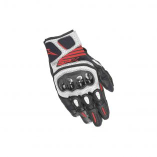 SPX Air Carbon V2 Motorcycle Gloves Black/White/Fluo Red