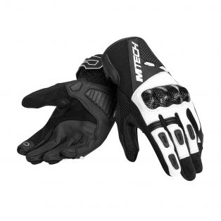 Falcon motorcycle gloves Black/White/Black