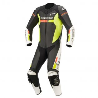 GP force Chaser Leather suit Black/White/Fluo Red/Fluo Yell